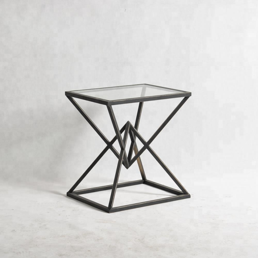 Mayco Modern Glass Coffee Table End Table <strong>Furniture</strong> With Abstract Gold Pyramid Base