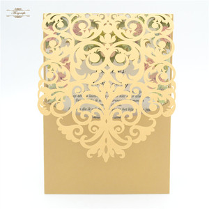 luxury romantic unique luxury metallic gold laser cut wedding invitation card