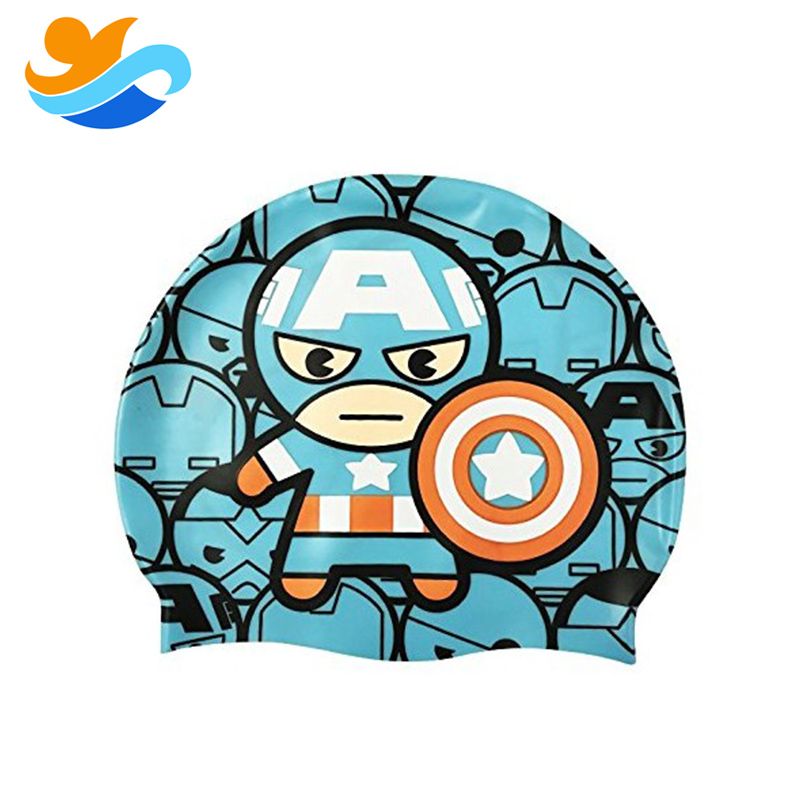 Kids adult Cartoon Funny Cute Waterproof Good Quality Silicone Swimming Cap