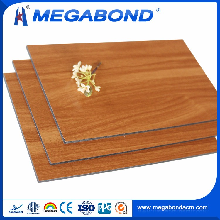 Megabond Aluminum wooden finish acp building decorative material