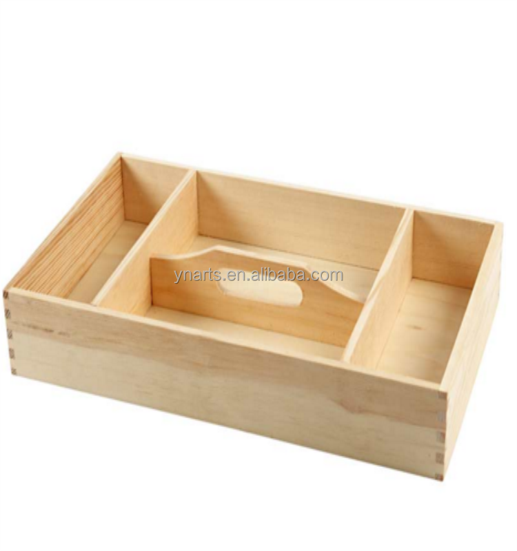 Hot sale functional 4 compartments pine wood serving tray