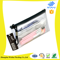 factory supply stand up clear pvc cosmetic bag with zipper top