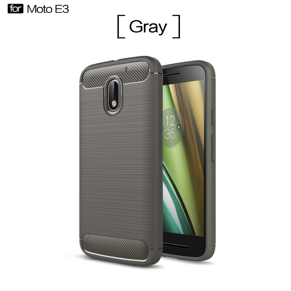 Brush Carbon Fiber Pattern TPU <strong>shock</strong> proof Mobile Phone Case Back Cover For moto E3