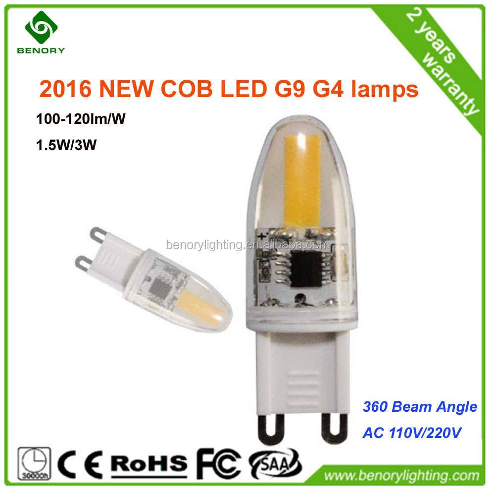 NEW Dimmable G9 COB 3W 2700K Silicone Led Light G9