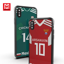 Custom 2018 World Cup Soccer Jersey Design Flag TPU Cover UV Printing Tempered Glass Mobile Phone Case For iphone X 10 8 7 Plus