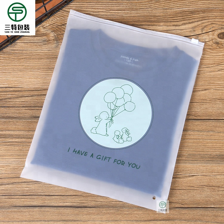 Wholesale custom printed frosted plastic zip bag baby child clothes t-shirt ziplock packaging bag