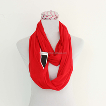 Wholesale Jersey Stripe Pocket Infinity Scarf With Zipper