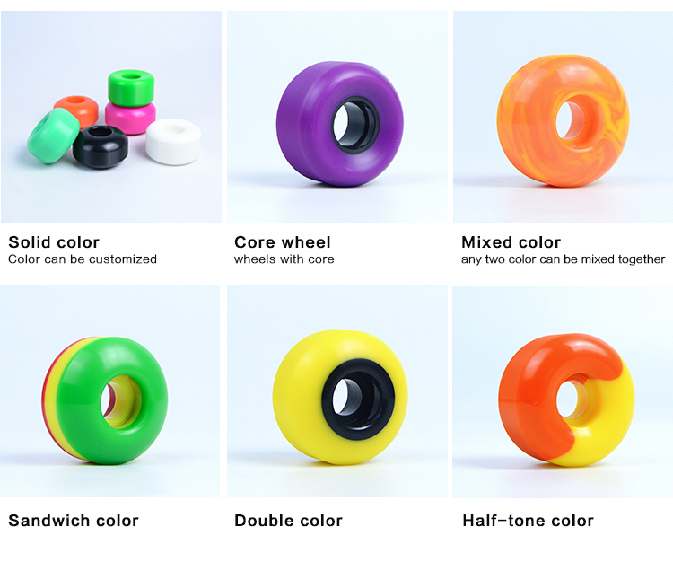 Wholesale PU Casting Brand Custom Skateboard Wheels with Mixed Color