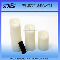 Set of 3 Moving Wick Ivory Wax Flameless Candles with remote
