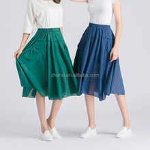 Pocket design vintage ladies cotton pleated dress women umbrella skirts midi