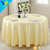 "Guangzhou custom round 120"" gold wedding tablecloth jacquard 100% polyester table cloth"