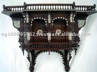 Antique Reproduction Handmade Inlaid Arabian Wall Double Shelf Console