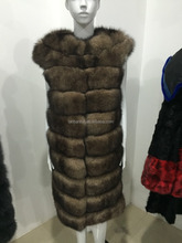100% Real Genuine sable mink Fox Fur Long Vest Gilet Waistcoat Jacket Ladies Luxury Warm