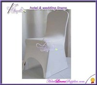 white strecth chair covers with front arch, white spandex chair covers, stretch chair covers for banquet chairs