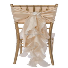 Champagne Ivory Curly Willow Taffeta Chair Sash