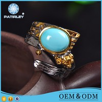 Fashion Natural Turquoise Stone 925 Sterling