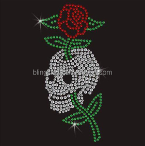 Skeleton Rose Rhinestone Iron On Transfer Beautiful Motif
