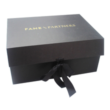 Wholesale Magnetic Closure Custom Logo Black Foldable Paper Packaging Gift Box