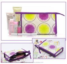 Color Printing Cotton Stand Up Cosmetic Pouch With Zipper Closure