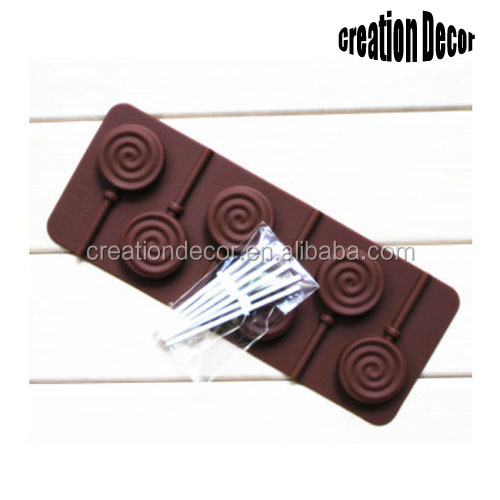 Customized circle shape silicone lollipop candy molds