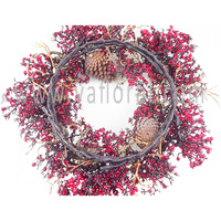 UK famous Christmas artificial pine wreaths artificial pine berry christmas on factory price with high quality and nice details