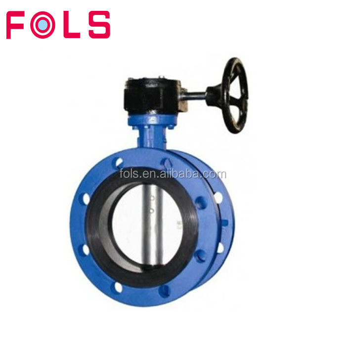 DN700-1200 cast iron U type double flange worm gear drive butterfly valve