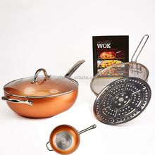 "11""&12""&12.5"" Amuminum alloy Copper ceramic cooking pans set Eco-friendly copper ceramic coated Wok with SS handles"