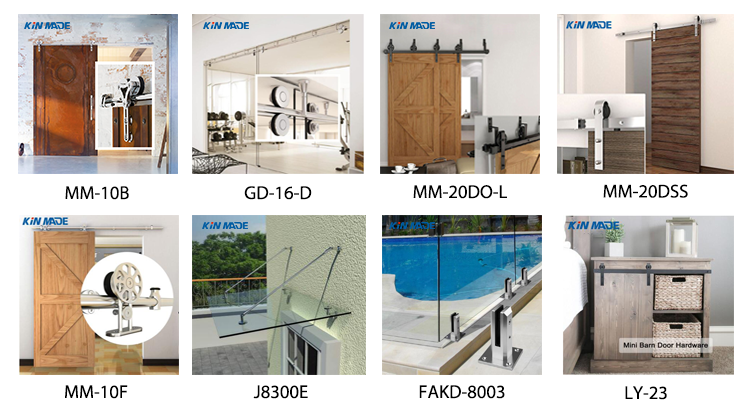 Double Panel Wooden Barn Door Hardware Sliding Track Kit Biparting Sliding Door