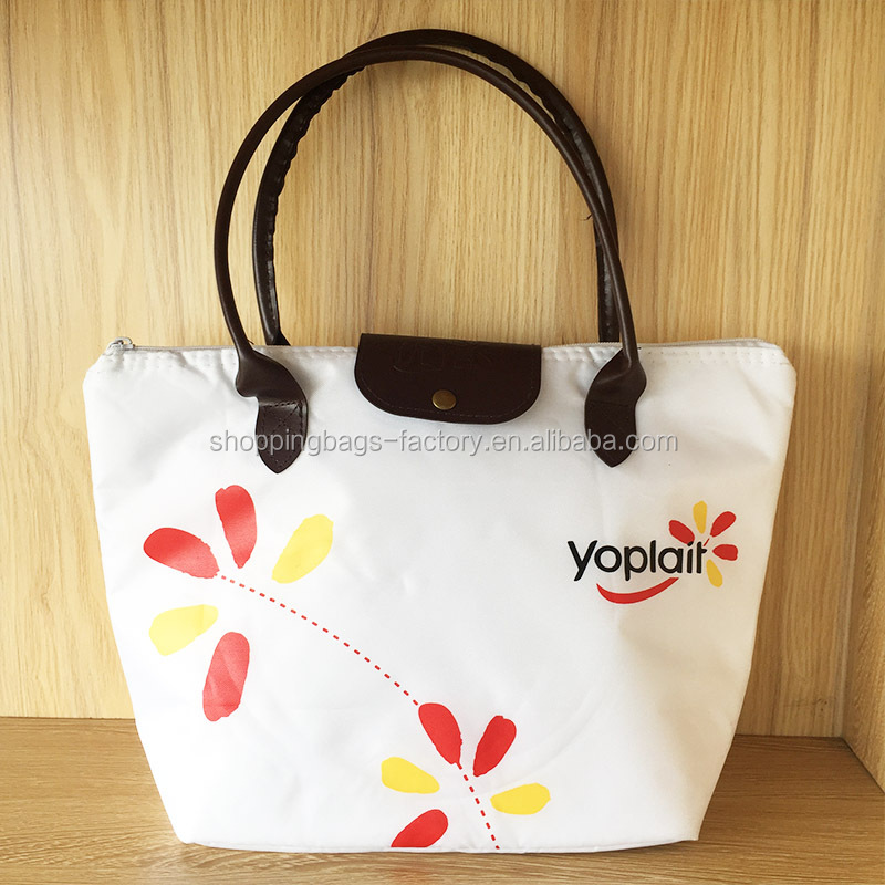 Fashion Small Cooler Frozen Snack Bag Yoplait Yogurts Isothermal Lunch Bag With Leather Handles