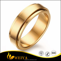 Comfort Fit Titanium Steel Wedding Band Gear Remove 14K Gold Plated Ring with Polished Finish