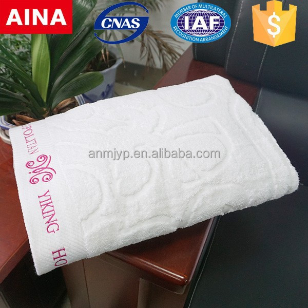100% cotton customized logo jacquard embroidered hotel bath towel