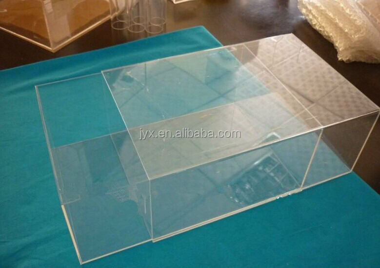 Acrylic shoe box with 2 divider,clear plexiglass shoe box