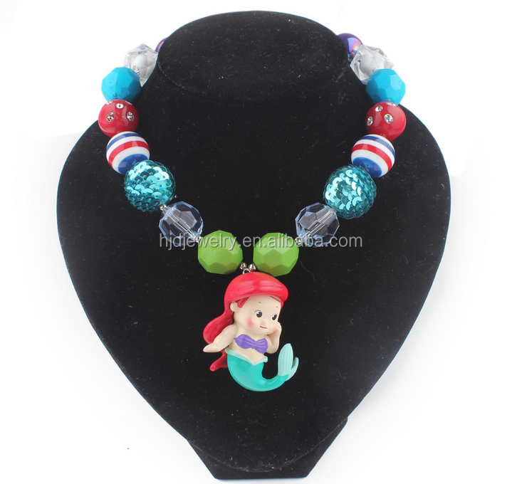 Wholesale fashion rainbow bead kids necklace