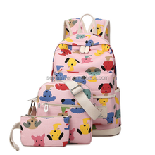 3pcs set lovely little dog shoulder messenger backpack school bag for girls