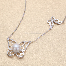 Guangzhou supplier competitive price silver chain real freshwater pearl necklace