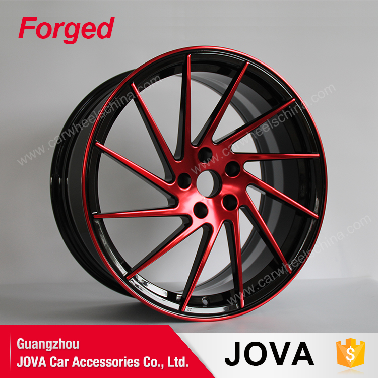 Customize black and red face monoblock forged wheels