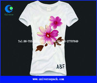 160g Girl's white cotton jersey t shirt with flower pattern