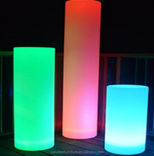Plastic color changing led glow cylinder light for Christmas decoration
