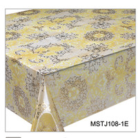 2016 new 3 layers with golden printing flower PVC table cloth