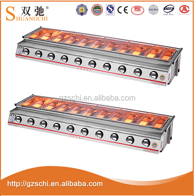 Heat-resistant glass cover 10 burners bbq gas grill smoke-free barbecue barbecue machine