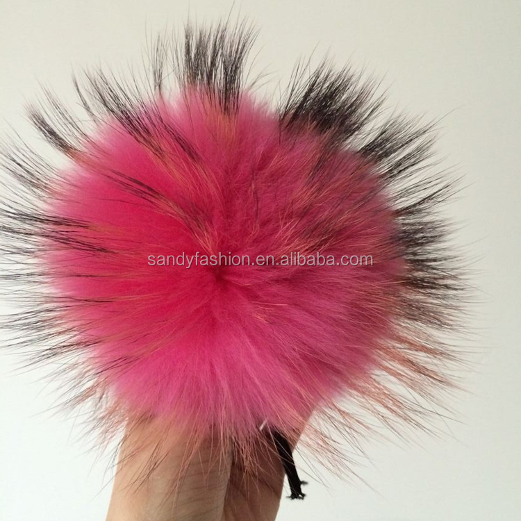 New products 2014 raccoon fur balls on shoes customized colorful 14-15cm moblie accessories pom pom for keychain