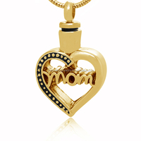 Letter Mom Engraved In My Heart Stainless Steel Hollow Out Memorial Mother Cremation Keepsake Urn Pendant Finish In Gold Color