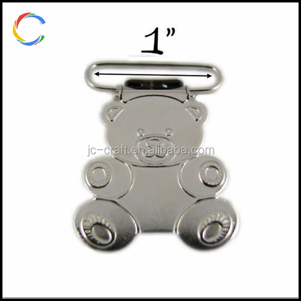 1 inch Teddy Bear Metal Pacifier Clip Suspender Clip
