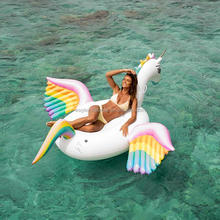 Custom Giant PVC rainbow unicorn horse Pool Float Raft Floatie Lounge Toy Inflatable Colorful Pegasus Float