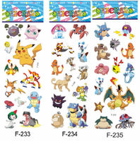Free shipping 2000pcs PVC 3D puffy stickers Pokemon figures reward stickers gift for boys