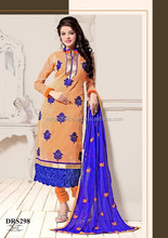 Punjabi Dress Material-Wholesale Indian Pakistani straight long anrkali dress-Indian embroidery work semi stitch dress