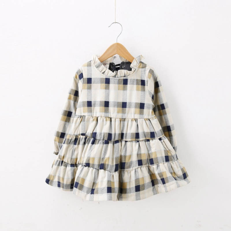YD2367 latest winter kids dress cotton plaid baby girl dress