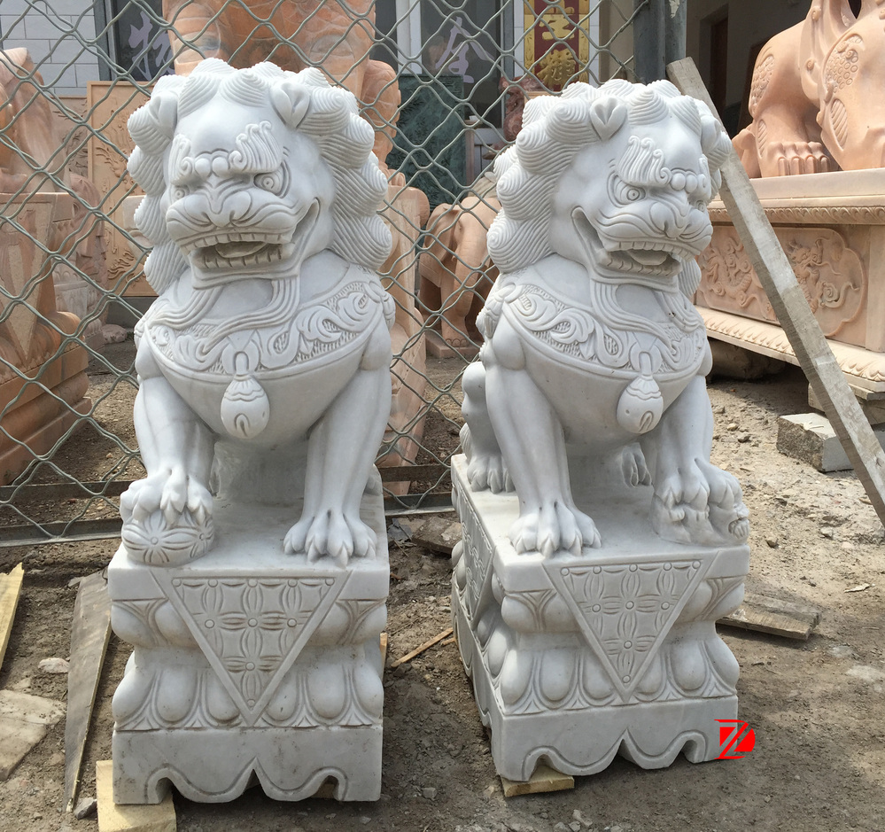 Hand carved chinese lion marble foo dog statue for home