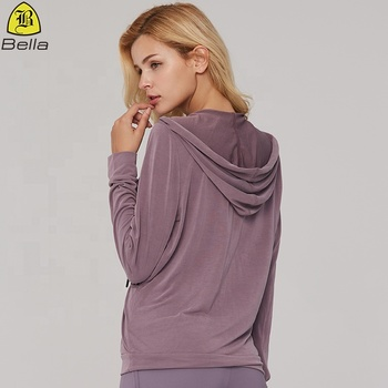 European oversize fashionable v-neck custom yoga top women sports hoodies