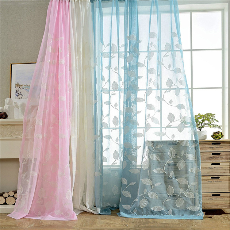 Tree Leaves Embroidered Sheer Curtains Kids Curtains Decorative Rod Pocket Top Window